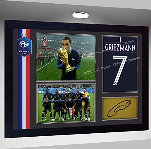 SGH SERVICES Poster 2018 FIFA Weltmeister Frankreich Antoine Heizmann Foto Druck Poster Vordruck Foto Druck Gerahmter MDF-Rahmen Fußball #9