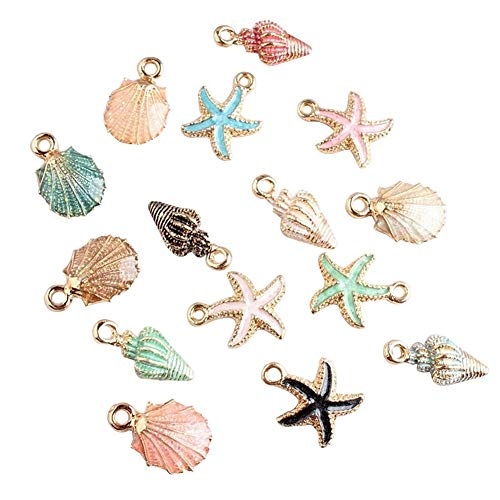 HMYDZ 15 Pcs/Set Colorful Shell Conch Starfish Enamel Charms Shell Charms for Bracelet Necklace Jewelry Craft Accessory (Color : Multicolor)