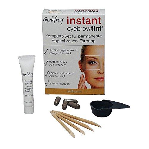 godef Roy Nuevo Cejas Color färbe Set Instant Eyebrow Tint, color marrón claro, 1er Pack (1x 4unidades)