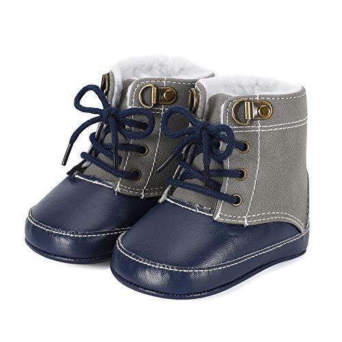 AmbabeOnline Baby Suede Booties Cozy Fur Lining Non-Slip Shoes Newborn Infant Toddler First Walker Outdoor Winter Shoes (Dark Brown, 0-3 Months)