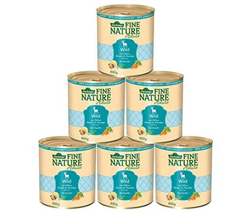 Dehner Fine Nature - Cibo per cani Adulto, qualità alimentare, selvaggina, 6 x 800 g (4,8 g)