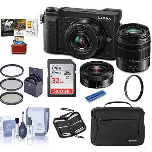 Panasonic Lumix DMC-GX85 Mirrorless Camera Black with Lumix G Vario 12-32mm f/3.5-5.6 & 45-150mm F4.0-5.6 Lenses - Bundle with Camera Case, 32GB SDHC Card, 52mm Filter Kit, Mac Software, and More