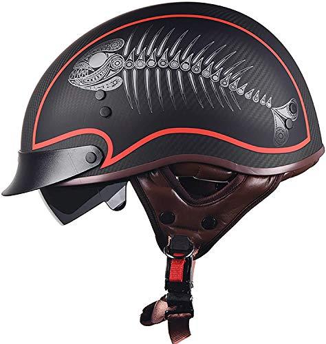 Cascos Medio casco de motocicleta - Visera de fibra de carbono 100% ECE-Zertifizierung Hombres Mujeres Casco de moto de cara abierta Crusie Biker Scooter Sombrero de seguridad Gorra Ligero Hardshell
