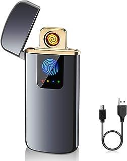 ASANMU Accendino Elettrico, Accendino USB Ricaricabile Antivento Elettronico Accendino, Indicatore della Batteria per Cand...
