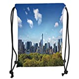 Fevthmii Drawstring Backpacks Bags,City,Manhattan Skyline with Central Park in New York City Midtown High Rise Buildings,Blue Green Ivory Soft Satin,5 Liter Capacity,Adjustable String Closu