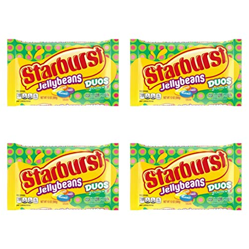 Starburst Duos Jelly Beans Easter Candy - Pack of 4 Bags - 13 oz per Bag - Jellybeans with 2 flavors in 1 (4 Pack, 52 oz Total)