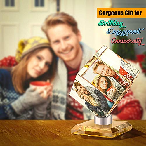 VEELU Personalized Photo Collage Frame 3D Rotatable Rubik's Cube Custom Multi Picture Frame DIY Wedding Photo Frame Personalized Keepsake Gift for Wedding Gifts Home Decoration Family Love Friends