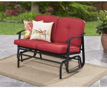 Best Mainstay Belden Park Outdoor Loveseat Glider with Cushion, Red