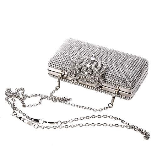 Adoraland Strasssteine Clutch in Silber Diamante Damen Abendtasche Klatsch mit Abnehmbarer Kette für Hochzeit und Party