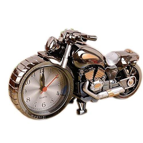 Blancho Original-Zwei-Ton Schwarz Motorrad Clock Nacht Wecker Desktop Clock