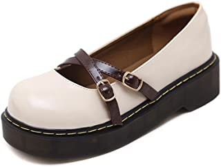 70201d6f0ce T-JULY Women s Fashion Oxfords Shoes - Comfy Slip On Mid Heel Round Toe  Buckle