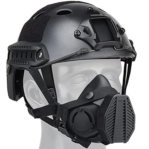 AQzxdc Conjuntos de Cascos Fast Airsoft, con Máscara Protectora Táctica, Rieles Laterales y Soporte de Aleación NVG, para CS War Game Outdoor Paintball Hunting Shooting,Negro,L