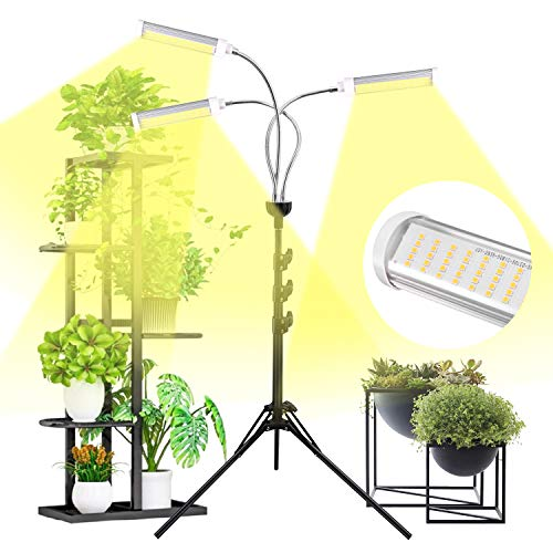 Plant Grow Light for Indoor Plants Full Spectrum with Timer for Your Indoor Garden, 150W Auto On/Off Timing Function Led Grow Light, Tripod Stand Adjustable for Succulent Seedling Vegetables