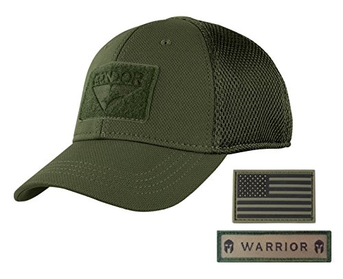 Condor Flex Mesh Cap (OD Green) + PVC Flag & Warrior Patch, Highly Breathable Fitted Tactical Operator Hat (L/XL)