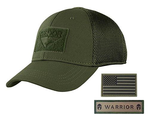 Condor Flex Mesh OD Green Tactical Cap Bundled with Two Armorbilt Patches