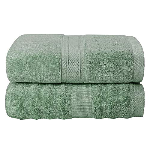 PiccoCasa Bamboo Cotton Bath Towels 2pcs 27x54 Inch Extra Absorbent and Eco-Friendly Luxury Hotel Spa Towel 2 Style Green