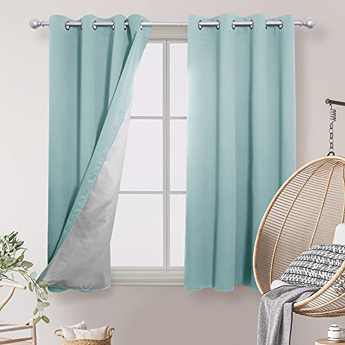 Deconovo Drapes for Bedroom 63 Inch Length - Thermal Insulated Curtains, Window Draperies for Living Room, Back Silver Coating (52W x 63L, Sky Blue, 2 Panels)