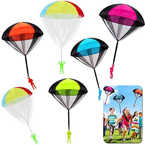 JWTOYZ Fallschirm Spielzeug Kinder, Fallschirm Kinder Fallschirmspringer Spielzeug, Outdoor Flugspielzeug für Kinder (6pcs)