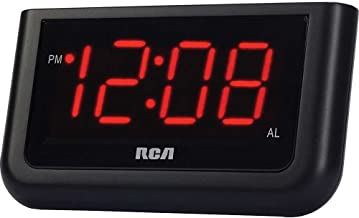 RCA Compact Alarm Clock with Large Easy to Read Backlit Red LED Display