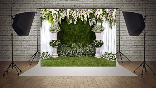 WaW Fotohintergrund Hochzeitszeremonie Blumenvorhang Fotowand Hintergrund Hochzeit Stoff Kulisse Brautdusche Geburtstag Party Fotobooth Requisiten 3x2m