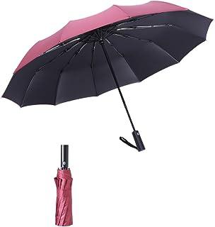 【SLITA】日傘・折りたたみ傘 晴雨兼用 UVカット加工塗装 自動開閉 12本骨 超耐風防水撥水 レディース/メンズ/キッズ/子供 革製収納カバー付き 高級感のある傘 300T高強度グラスファイバー