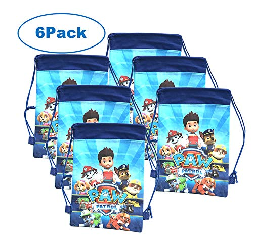 Party Bags for Kids Boys Paw Petrol Drawstring Bag Gift Party Favors 6 Pack