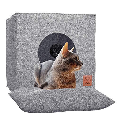 Premium Katzenhöhle inkl. Kissen & Spielball von BEARTOP | passt in viele Regale, wie z.B. Kallax | Höhle zum Schlafen, Verstecken, Toben, Kuscheln | kleine Hunde | ZUFRIEDENHEITSGARANTIE (3 Jahre)*