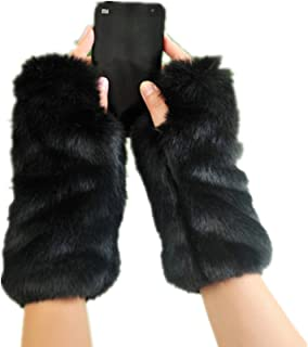 Fingerless Fur Gloves-Smooth Furry Gloves-Soft Fuzzy Women,Girls Warmer Gloves