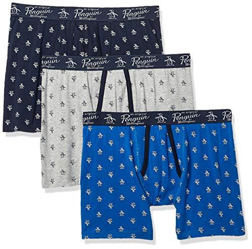 Original Penguin Men's Cotton Stretch Boxer Brief Underwear, Multipack, LTGYH/SKCPTE/Cobalt - 3 Pack, Large