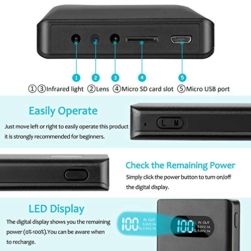 Mini Kamera mit 32G SD-Karte YYLUUT 1080P Tragbare Kleine Überwachungskamera 10000mAh Powerbank Kamera mit Nachtsicht Bewegungserkennung Nanny-Videokamera Schwerkraftsensor Loop-Aufnahme