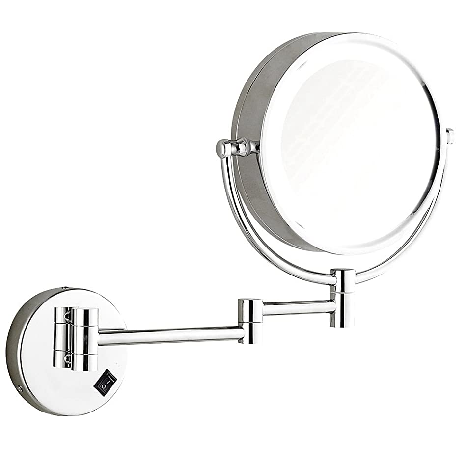 DOWRY LED Lighted Makeup Wall Mount Makeup Mirror Hard Wire,8Inch Cordless, Polished Chrome Finished 1809D-ancha (7x, Chrome)