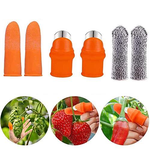 INTVN Jardin Couteau de Pouce en Silicone, Coupe-Légumes Couteau Doigt Pouce Outils de Coupe de Plantes, avec Couvercle Anti-Coupure des Doigts, pour la Récolte de Fruits de Légumes de Jardin (6pcs)