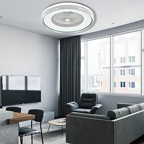 Ventilador de techo con iluminación y mando a distancia, 60 W, regulable, 3 velocidades de viento, temporizador, lámpara de techo para dormitorio, salón, comedor (blanco)