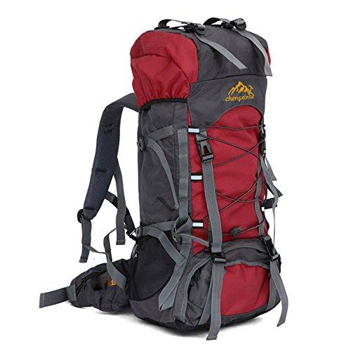 YUMOMO 55L nylon impermeabile Escursionismo Camping viaggio esterna zaino Sport Pack alpinismo arrampicata zaino Bag (rosso)