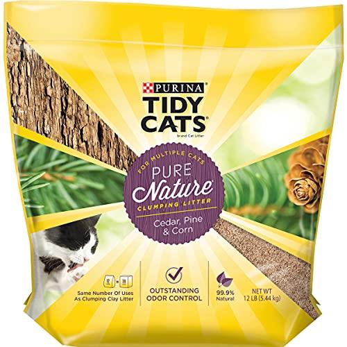 Purina Tidy Cats Natural Clumping Cat Litter, Pure Nature Cedar, Pine & Corn Cat Litter - 12 lb. Bag