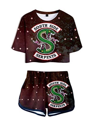 Riverdale Tops und Hosen Damen, Teenager Mädchen Southside Serpents T-Shirt und Shorts Mode Sommer Crop Tops Anzug Bauchfrei Oberteile Sport Kurze Tank Top Frauen Kurzarm T-Shirt Bluse (H,M)