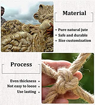 XXN Climbing Netting,Childrens Outdoor Development Training Rope Protective Net,Safety and Environmentally Friendly Strong and Wear Resistant Even Thickness Hemp Twisted Manila Natural Cotton Jute