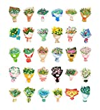 30pcs Belle fleurs Bouquet Shape Postcards for Collectors