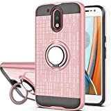 Moto G4 Case, Moto G4 Plus Phone Case(NOT FIT Moto G4 Play),with HD Phone Screen Protector,YmhxcY 360 Degree Rotating Ring & Bracket Dual Layer Resistant Back Cover for Motorola Moto G4-ZH Rose Gold