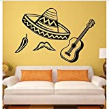 Cartel De Música Calcomanías Decorativas De Pared Desmontables Sombrero Latino Chile Guitarra Pegatinas De Vinilo Mural De Arte Fresco 62X42Cm