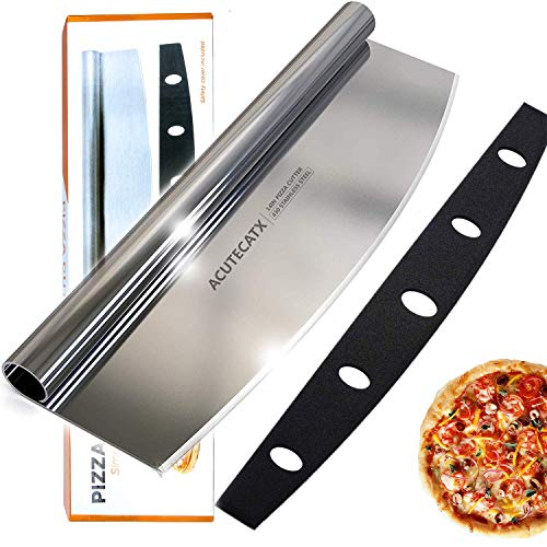 ACUTECATX 14-Inch Pizza Cutter Rocker Blade Stainless Steel Dishwasher Safe Sharp Rocker Slicer Knife with Cover - Best Way To Cut Pizzas