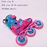 STBB Patins à roulettes Child Size Adjustable Speed Inline Skates Street Roller Skating Chaussures Taille Rose M UE 32-35