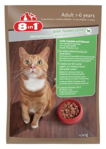 8in1 Katze Nassfutter Erwachsen Lamm ( für erwachsene Katzen ab 1 Jahr mit zartem Lamm in Sauce), 24 x 100 g Frischebeutel, 1er Pack (1 x 2.4 kg)