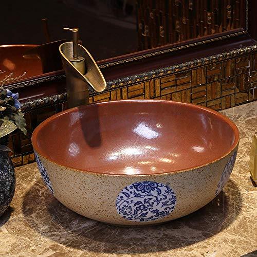 YYZD Lavabo de cerámica Art lavabo sobre encimera de cerámica lavabo para baño lavabo sobre encimera lavabo para baño lavabo para baño cuenco-D. Solo hundirse