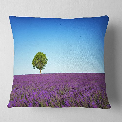 Designart Green Tree among Lavender Flowers' Landscape Wall Throw Living Room, sofa, High Quality pillow insert + Cushion Cover Printed On Both Side 16 in. x 16 in