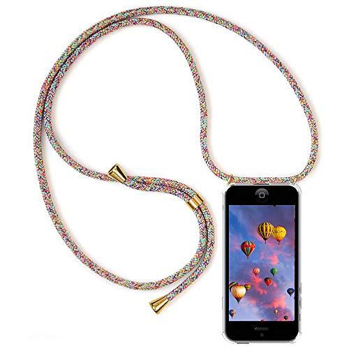 MXKOCO Carcasa de movil con Cuerda para Colgar iPhone 5/5S/5C - Funda para iPhone 5/5S/5C Case con Correa Colgante/TPU Necklace con Banda- con Cordon para Llevar en el Cuello - Arcoiris