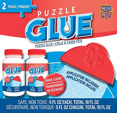 MasterPieces Accessories - Jigsaw Puzzle Glue Bottle & Wide Plastic Spreader, 5 Ounces Each, 2 Pack