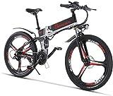 HCMNME Bicicleta Duradera, Bicicletas eléctricas, Bicicletas Plegables Plegable Ebike 21 Veloz Engranaje y 26 Pulgadas 350w Doble Disco Freno de Bicicleta eléctrica Elegante for Adultos y ADU