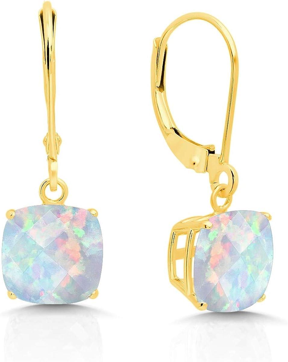 14k Yellow Gold Created Opal Dangle Leverback Earrings (8mm)