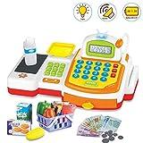 deAO Yellow Supermarket Store Toys Cash Register, Credit Card, Food, Basket Money
